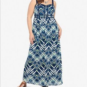Torrid blue lime green maxi dress size 14